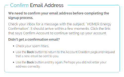 confirmation message page