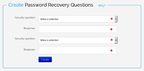 password recovery questions