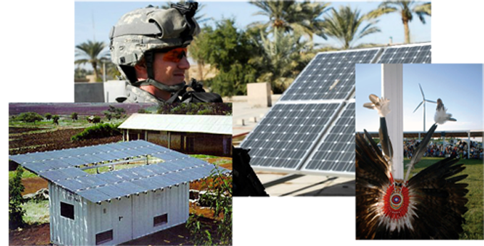 military, native headdress, agricultural rooftop PV