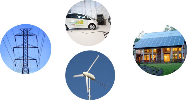 Power grid, electric vehicle, rooftop solar, wind turbine