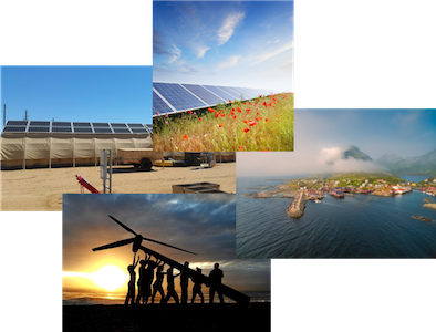 A collage of wind turbines and solar panels