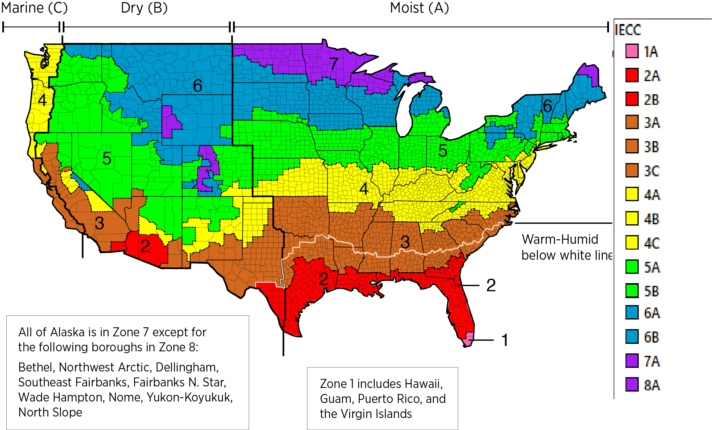 Climate Zone Map Us IECC Climate Zones